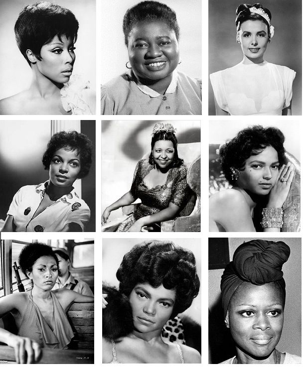Black Women of Hollywood (1st row from left: Diahann Carroll, Hattie McDaniel, Lena Horne. 2nd row Ruby Dee, Ethel Waters, Dorothy Dandridge. 3rd row: Pam Grier, Eartha Kitt, & Cicely Tyson)
