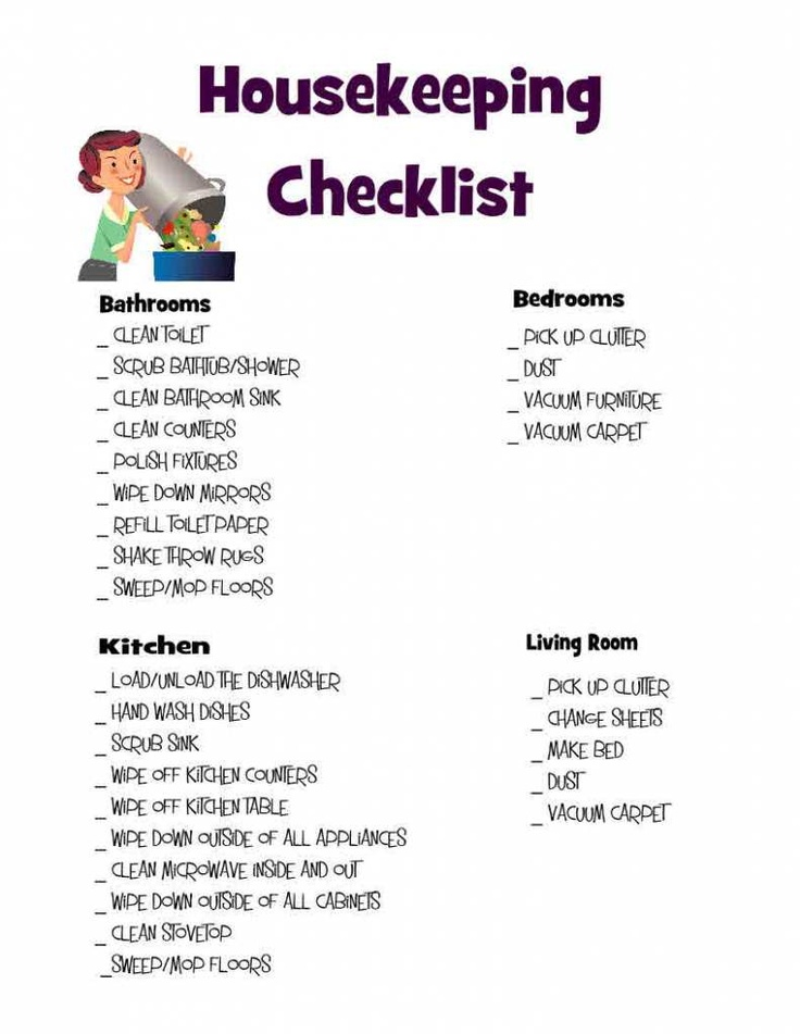 Housekeeping Checklist Cleaning, Organize and Organizations