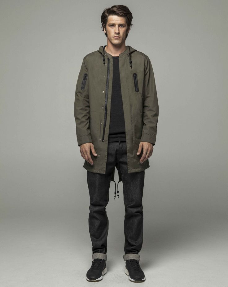 Workshop Denim Superfine Merino Crew - Black Marle, Technical Anorak - Olive, Slim Fit Selvedge - Dk Indigo