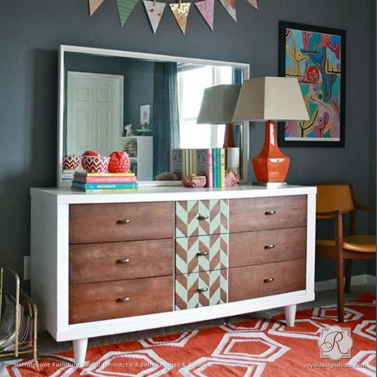 Painted Wood Dresser with Classic Modern Pattern - Herringbone Pattern Furniture Stencils - Royal Design Studio