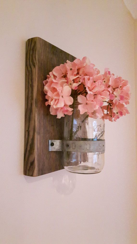 Wallmounted Mason Jars x 3, Reclaimed Wood and Mason Jar, Mason Jar Candle…