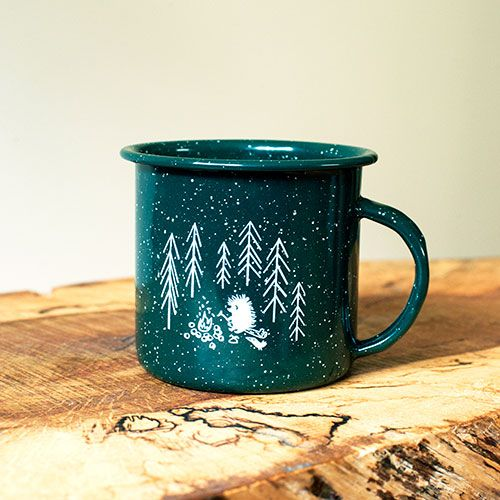 PRODUCTION DETAILS  Classic camping enamel mug filled with soy wax candle and natural evergreen  pine scent.  Bringing the outdoor into your office or home.  Size: 12oz Material: enamelware Made in Canada