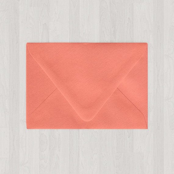 10 A7 Envelopes - Euro Flap - Coral & Peach - DIY Invitations - Envelopes for Weddings and Other Events