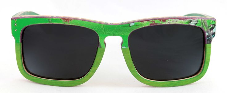 Green Scorpion Combi   Recycled wood sunglasses hand made from used skateboards.