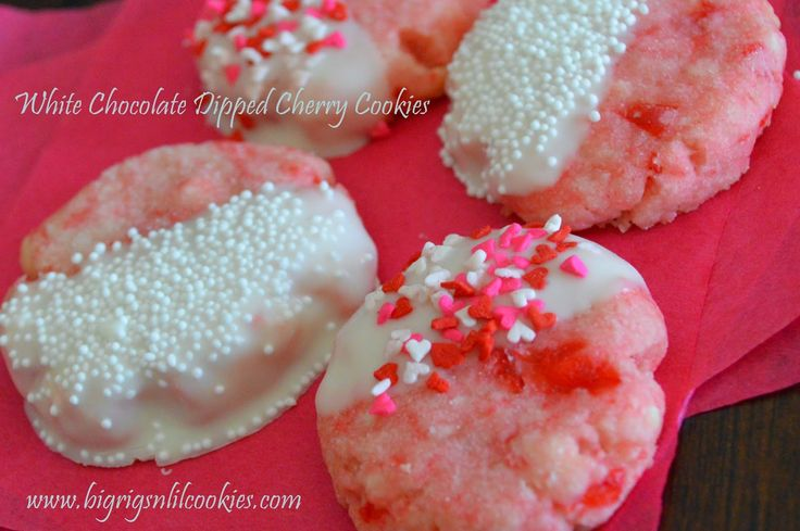 Big Rigs 'n Lil' Cookies: White Chocolate Dipped Cherry Cookies