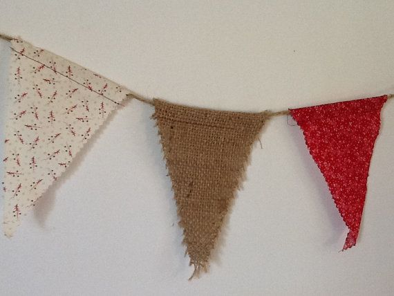 Fabric and Burlap Pennant Banner Cream and by DownHomeYoyoBoutique, $10.00