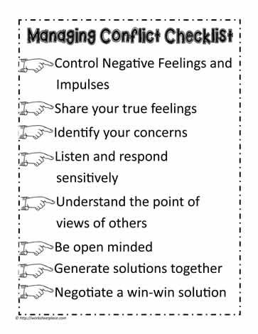 Conflict resolution skills worksheets for adults