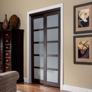 Simple TRUporte Series in x in Espresso Brown Lite Composite Universal Grand Sliding Door