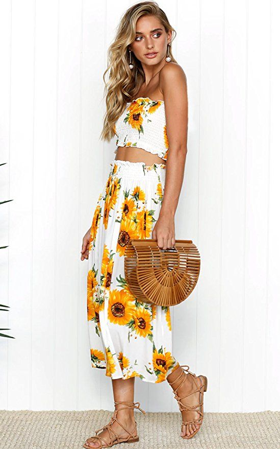 2ae355372f Angashion Women s Floral Crop Top Maxi Skirt Set 2 Piece Outfit Dress