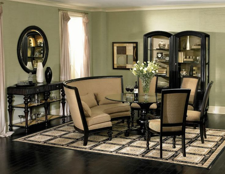 Captivating Ventura Traditional Banquette Style Round Dining Room Table Chairs Set  Furniture