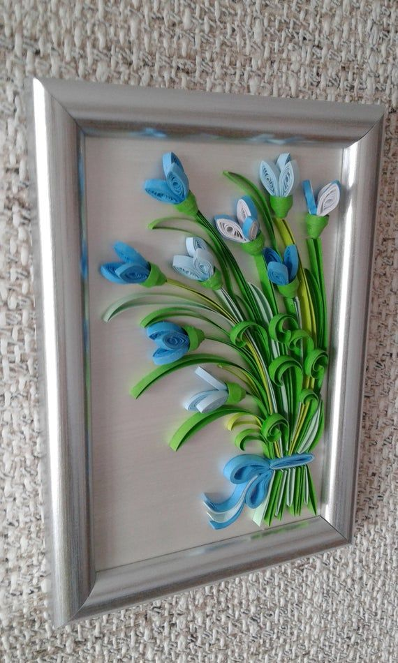 Quilling Art Bouquet Bells Flowers Paper Quilled Picture Etsy In