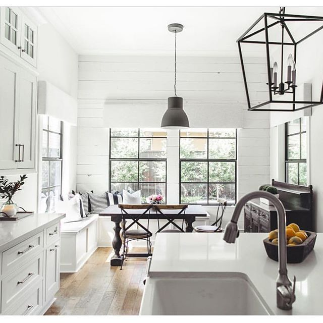 Stumbled across the amazing kitchen today by @allegiancebuilders Isn't it beautiful?!?! I love the windows and the wall or shiplap!! It's perfect!! Who else is obsessed with this modern farm house style? Tag a friend below if you think this is her style.
