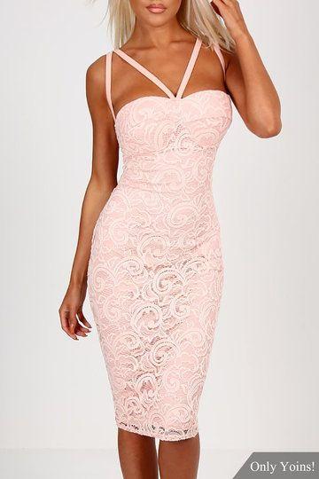 Pink Lace Bra Cross Back Bodycon Mini Dress - US$17.95 -YOINS