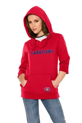 Montreal Canadiens Women's Laser Cut 3/4 Sleeve Pullover Hoodie - Touch by Alyssa Milano