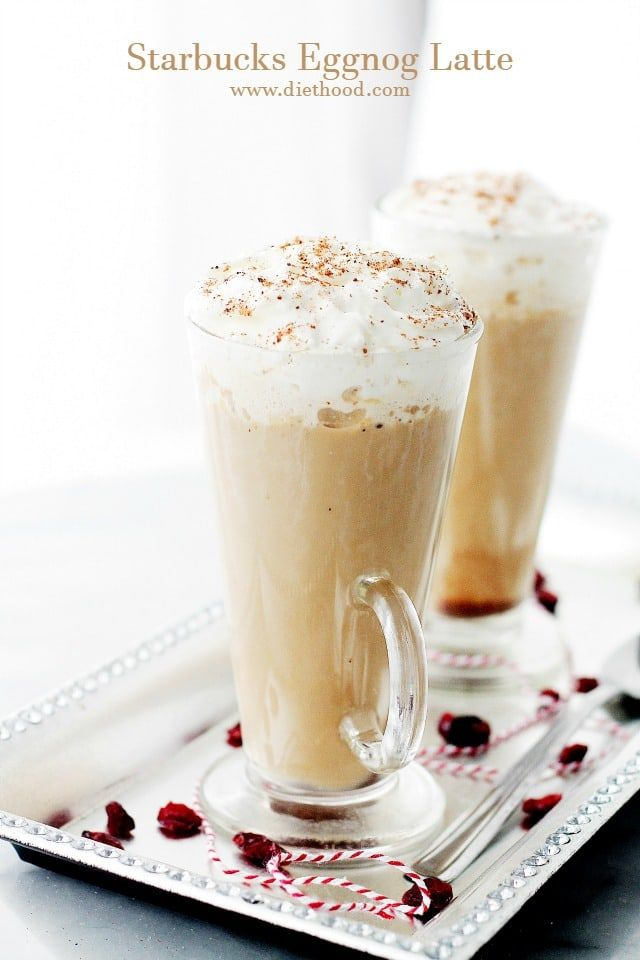 Starbucks Eggnog Latte - This festive, Starbucks-inspired latte, is made with strong brewed espresso, steamed eggnog and milk.