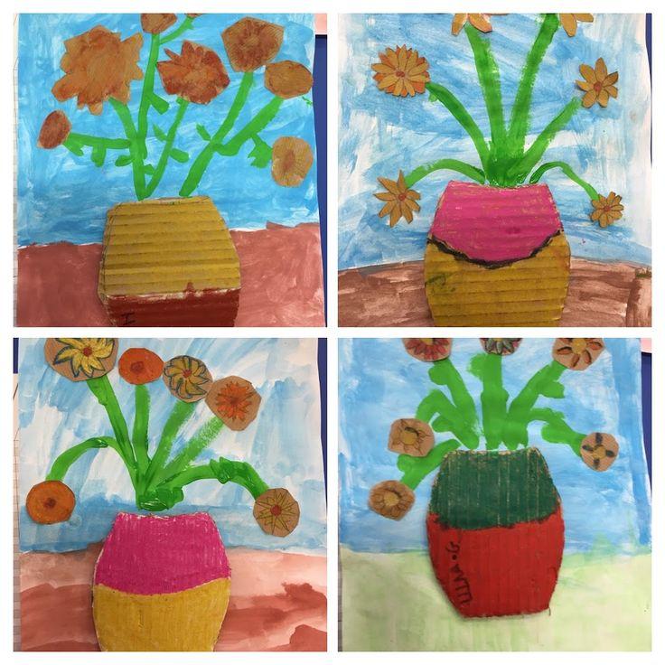 GIRASOLS VAN GOGH - Material: paper, cartró, tisores, cola, pintura, colors - Nivell: 2PRIM CI 2015/16 Escola Pia Balmes