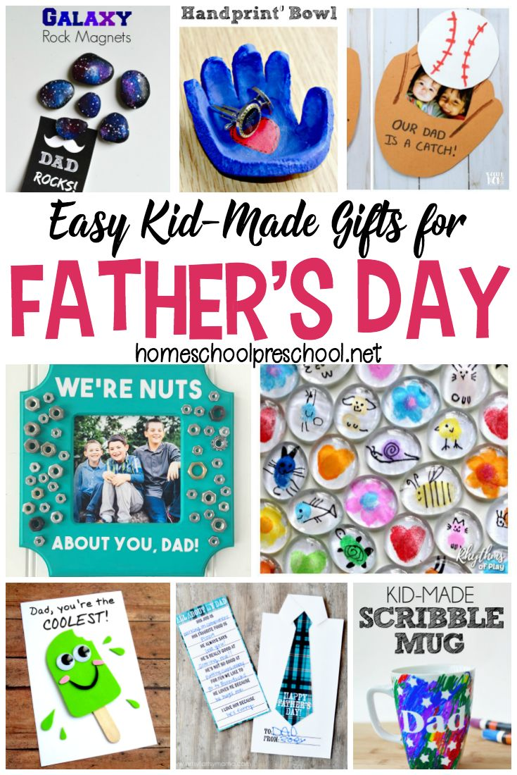 Show Dad some love this Father's Day with one of these simple Fathers Day crafts! Each one will make great preschool Father's Day gifts! #homeschoolprek #preschool #prek #prekathome #preschoolathome #fathersday #fathersdaycard #fathersdaygifts #kidmadegifts #kidcrafts   https://homeschoolpreschool.net/fathers-day-crafts-kids-can-make/