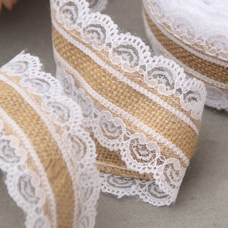 10M Natural Jute Burlap Hessian Lace Ribbon Roll + White Lace Vintage Wedding Decoration - Wedding Look
