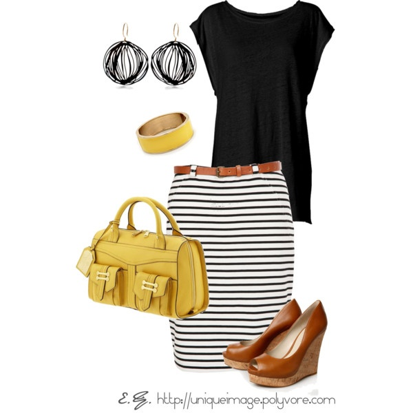 .: Cutest Outfits, Skirts Belts, Black And White, Stripes Skirts, Yellow Wedges, Work Outfits, Stripes Pop, White Stripes, Cute Skirts