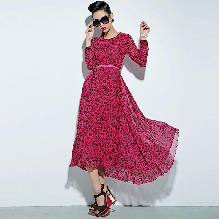 Бесплатная доставка! Европейский и американский стиль улицы с поясом ~ ~ красный леопард юбка осень длинными рукавами платья шифоновая юбка ...