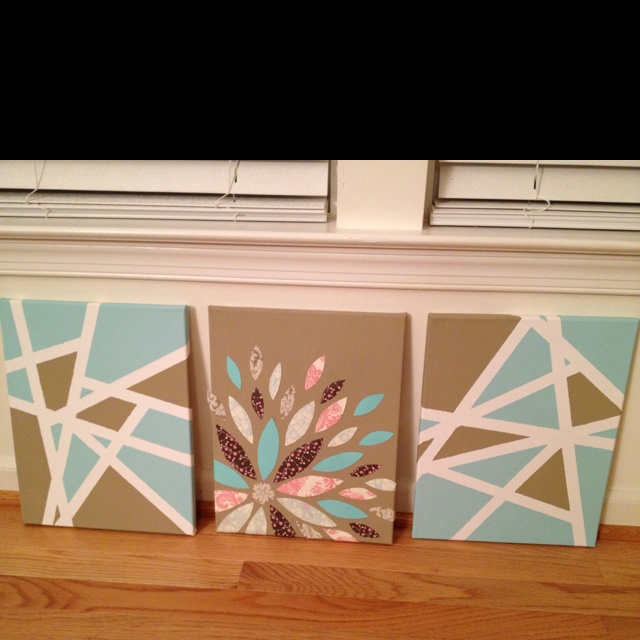 Painting Ideas With Tape: Scrapbook Paper Flower And Masking Tape/acrylic Paint