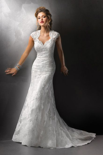 Awesome Brush Train Keyhole Back Lace Cap Sleeve Trumpet Wedding Dress