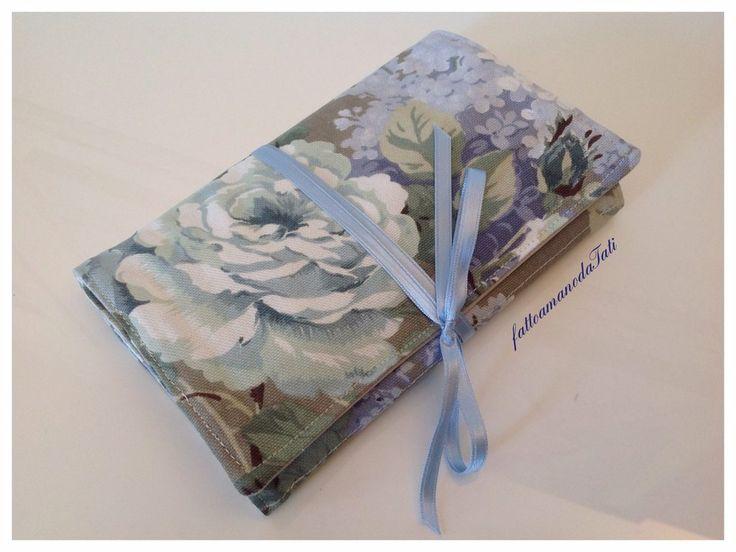 Portagioielli da viaggio in cotone a fiori sui toni azzurro/verde , by fattoamanodaTati, 25,00 € su misshobby.com