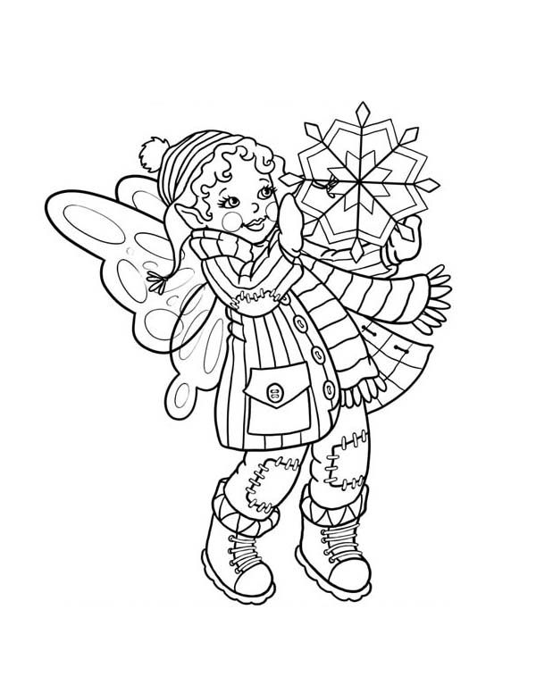 Cute Fairy Doll Holding Snowflake On Winter Coloring Page