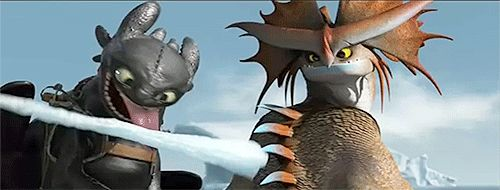 HTTYD 2 toothless lol he got his tongue stuck. I played this in slow motion and it looked like a Miley Cyrus impression! Thanks! Cloudjumper does look like he's winking! I never noticed that.