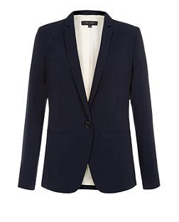 Navy (Blue) Navy Crepe Longline Blazer | 300517641 | New Look