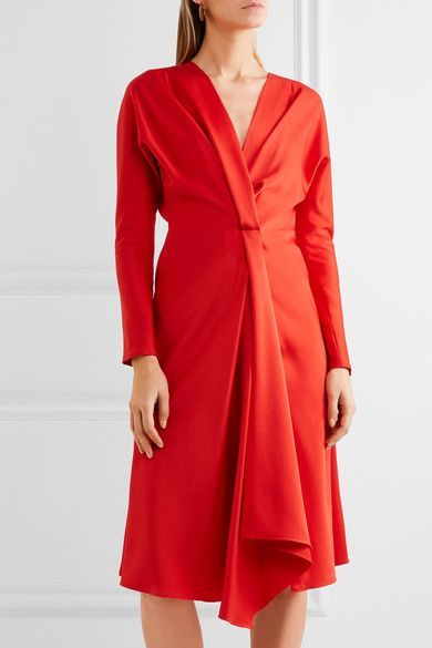 Red satin-crepe Concealed hook and zip fastening at back 69% acetate, 31% viscose Dry clean Designer color: Candy Made in France