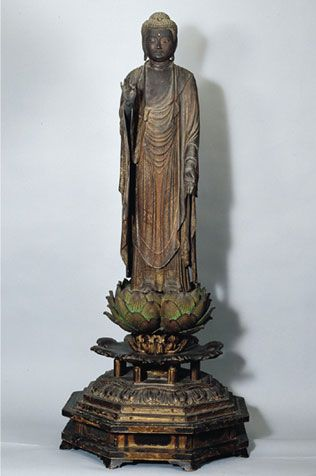 Amida Nyorai (Buddha Amitabha) Japan; Kamakura period (1185-1333), mid- to late 13th century This statue of Amida (Sanskrit Amitabha Buddha), the Buddha of the Western Paradise, performs the gesture of teaching (vitarka mudra) with both hands. In East Asia, these gestures signify Amida's welcoming descent from heaven (raigo) to greet the soul of a faithful devotee at death.