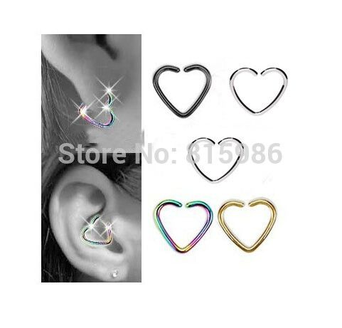 1 PCS Fake Piercing Stainless Steel Anodized Clip on Hoop Heart Body Jewelry Unisex Ear Cartilage Earrings Piercing Tragus