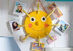DIY Sunshine Photo Holder - Display your favorite vacation memories with this cheery sunshine photo holder. | #kids #craft