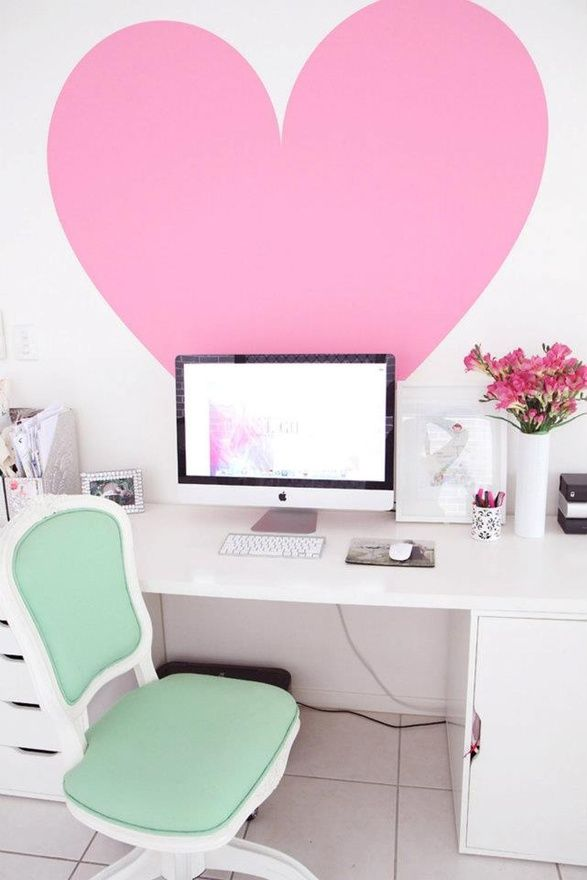 The Decorista-Domestic Bliss: office space of the day...i HEART YOU