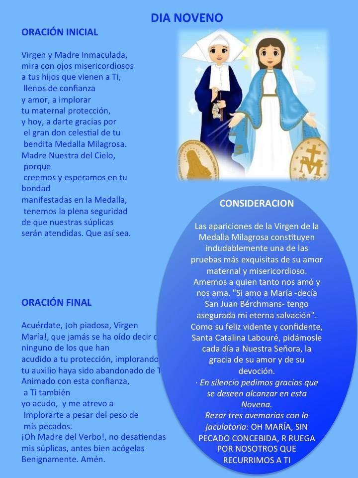 NOVENA A LA VIRGEN DE LA MEDALLA MILAGROSA – DÍA NOVENO Oh María, Sin Pecado Concebida…