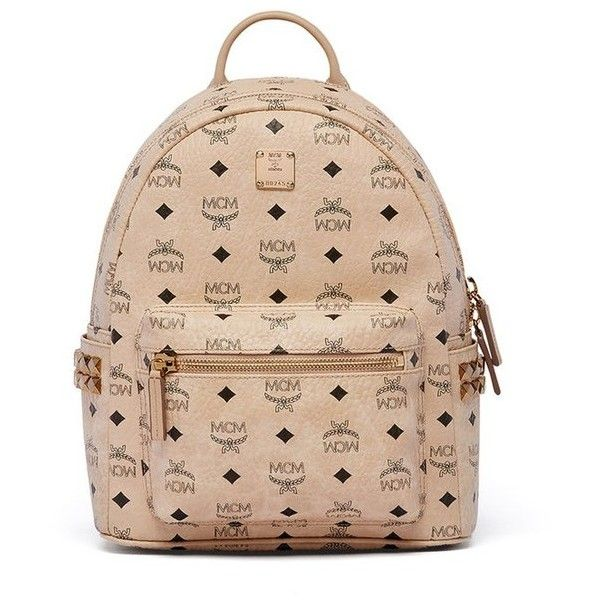 MCM Stark Studded Coated Canvas Mini Backpack ($720) ❤ liked on Polyvore featuring bags, backpacks, beige, mini backpack, day pack backpack, backpack bags, rucksack bags and daypack bag