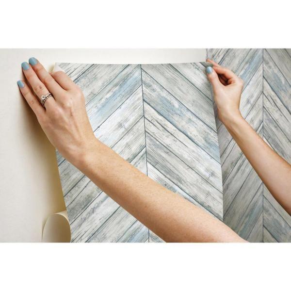 Roommates Herringbone Wood Boards Blue Tan Vinyl Peelable Roll Covers 28 18 Sq Ft Rmk11454wp The Home Depot Herringbone Wood Peel And Stick Wallpaper Wood Board