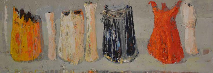 Jolanta Caban, Martwa natura z czapką błazna, 50x140cm.