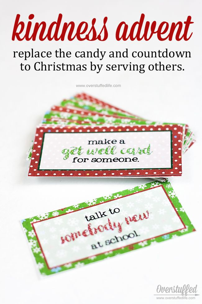 Kindness advent | Christmas advent idea | free printable | DIY advent | fun holiday activity for family | give the gift of kindness | candy free advent | service project for kids