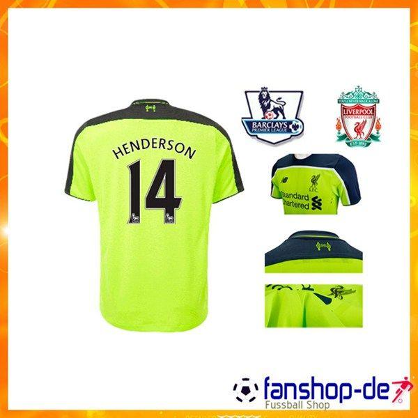 Neuer FC Liverpool HENDERSON 14 Third Trikot Gelb 2016 2017 Fan Shop Kaufen