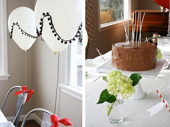 a simple chocolate cake on a white cake stand.  perfection.White Cake, Cutest Parties, Children Parties, Kids Birthday, Balloons Parties, Cake Stands, Balloons Birthday Parties, Parties Ideas, Hot Air Balloons