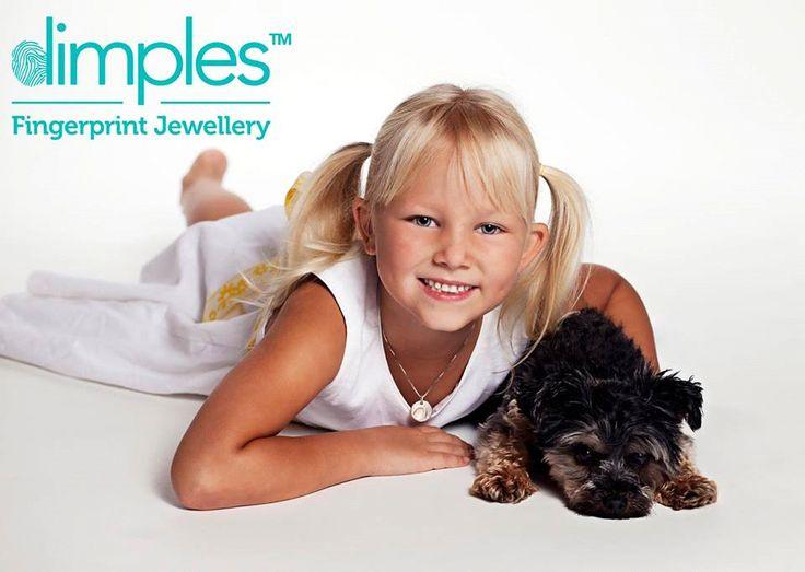 Cute dog and pretty girl dog paw print pendant