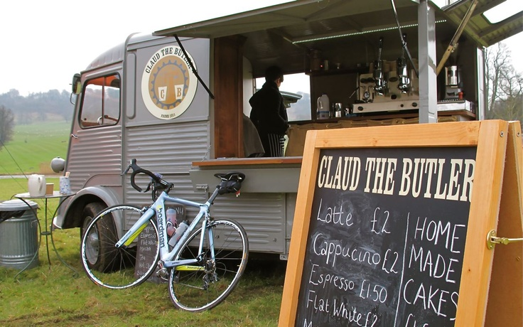 Claud the Butler - Somerset, UK. Launched by cyclists for cyclists, this converted Citroen offers pre and post ride fare including freshly ground coffee and nutritious eats... Great concept.
