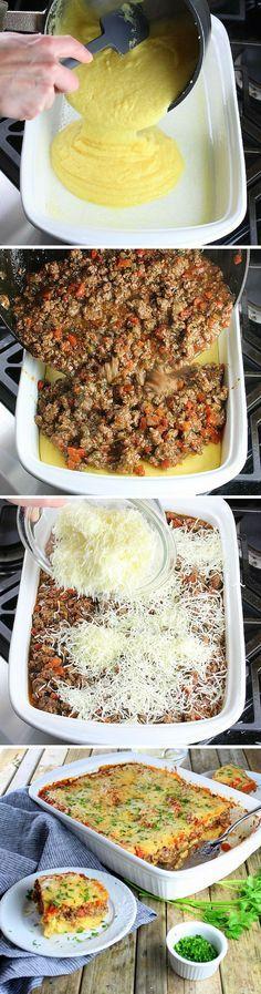 Lamb Lasagna With Parmesan Polenta.  Ground lamb, tomatoes, garlic, & onion... Polenta replaces the lasagna noodles, making it easy, gluten-free, & delicious!  http://tasteandsee.com