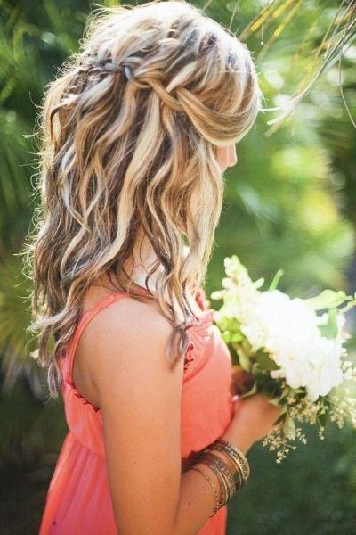 Lovely Casual Waterfall Braid! Bridesmaid hairdo or maybe engagement pic style...