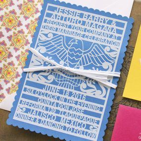 Papel Picado Wedding Invitation Puerto Vallarta Mexico