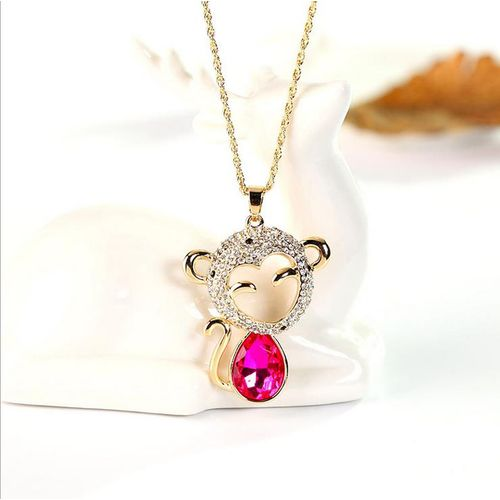 Fashion Women Lady Jewelry Pendant Monkey Long Chain Tassel Sweater Necklace