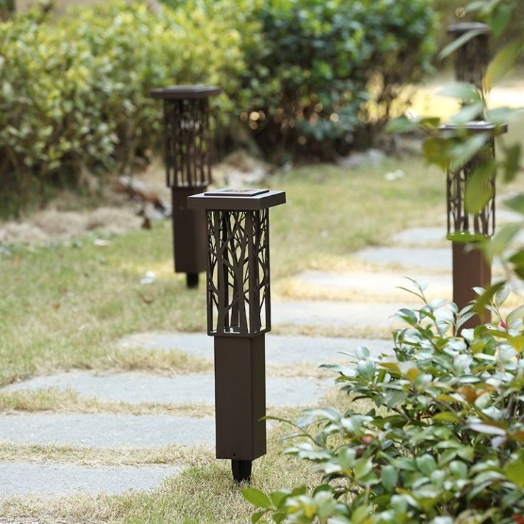 Lovely Stainless Steel solarlampen Spike Light Hollow Engraving Landscape Garden Path Lawn Solar Lamps Outdoor Grounding Sun