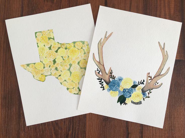 Custom watercolor paintings | handpainted | boho decor | Texas wall art | Gallery wall art